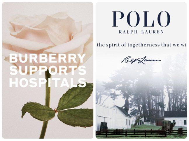BURBERRY和Ralph Lauren都投入全國新冠肺炎的相關救援行動。圖/...