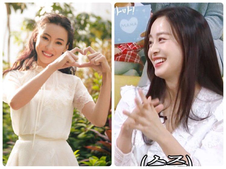 張柏芝與金泰希都以刺繡裙裝穿出仙氣。圖/分別取自夏姿微博、tvN官方IG
