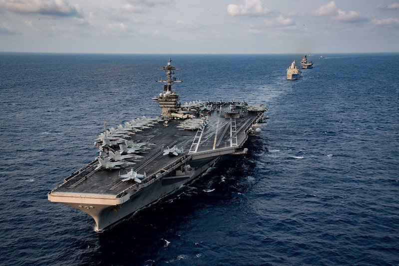 3月中美軍羅斯福號於南中國海巡弋。 圖/美國海軍