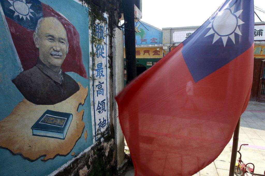 金門一處牆上畫有前總統蔣介石畫像。 圖/路透社