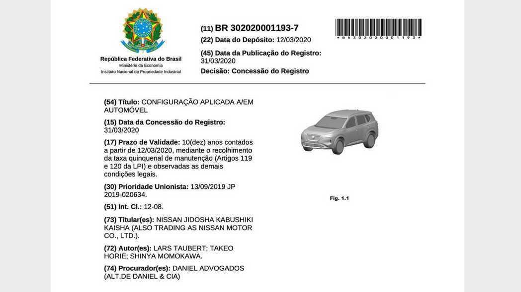 新一代Nissan X-Trail/Rogue在巴西的專利文件曝光。 摘自Mot...