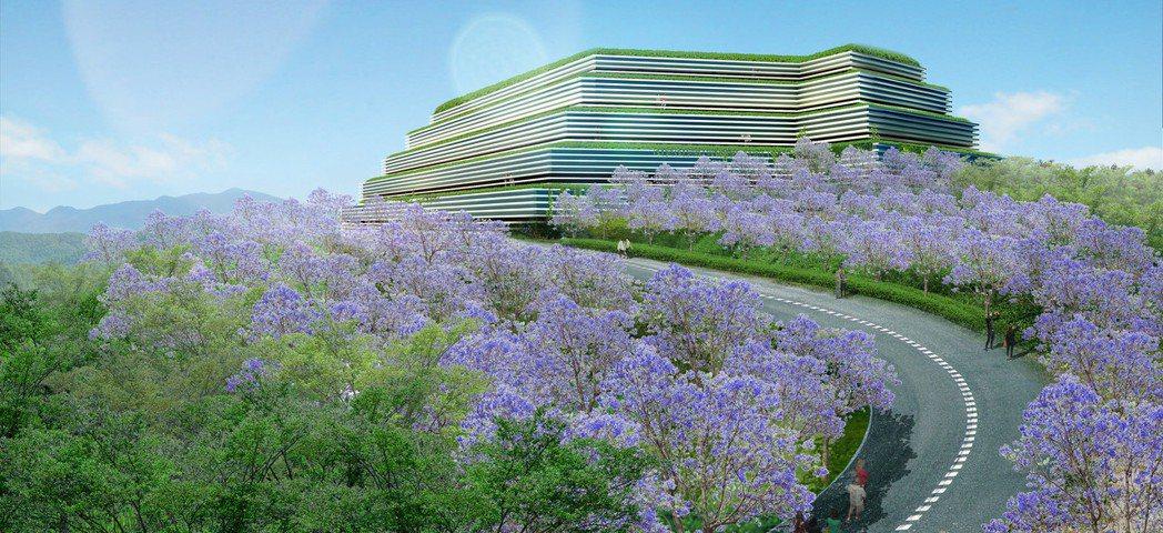 高雄光之丘生命紀念館3D示意圖,龍巖於4月1日宣布新建工程將進行發包。龍巖/提供