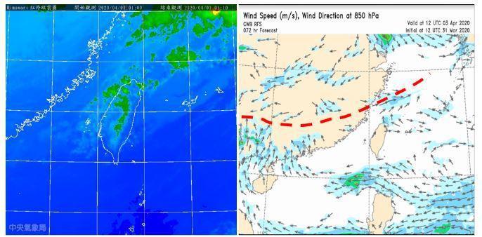 今晨1時衛星雲圖顯示,華南層雲移入(左圖);苗栗以北有雨,中部亦有局部雨。最新氣象局模式(RFS),模擬3日20時850百帕南風與東北風在華南形成輻合帶(右圖紅虛線)、厚實雲層常在其上發展,受中層西風導引東移,影響台灣。圖/取自「三立準氣象.老大洩天機」專欄