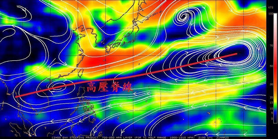 副熱帶高壓帶很明顯,高壓脊線延伸到中南半島。圖/取自鄭明典臉書