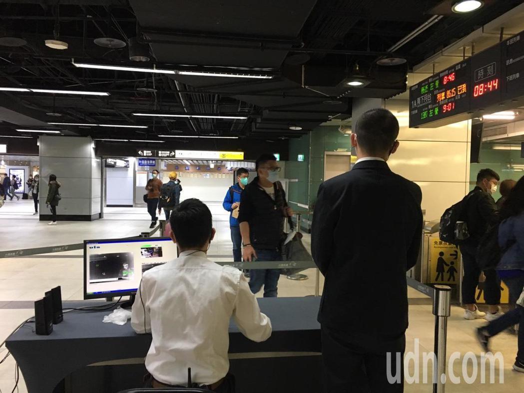 高鐵台北站今起用紅外線量體溫測儀。記者吳姿賢/攝影