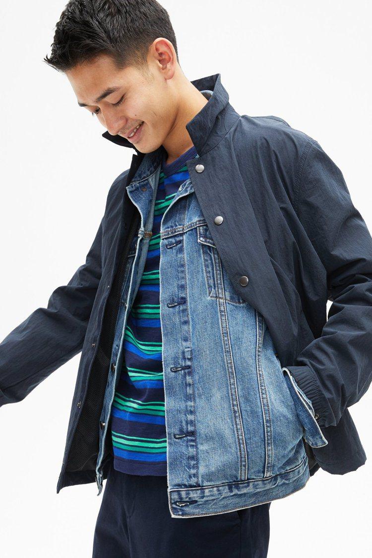 GAP替男性消費者提供了多款跳色條紋上衣。圖/GAP提供