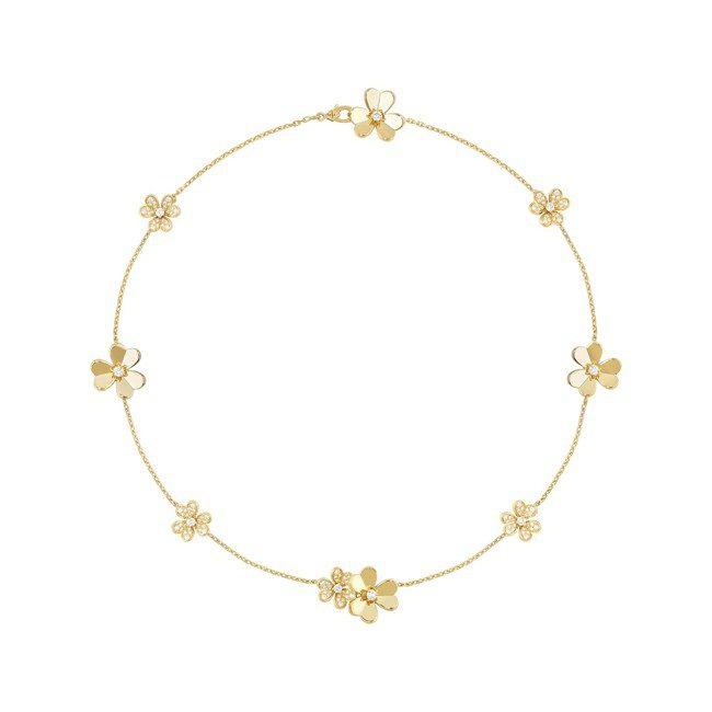 梵克雅寶Frivole項鍊9花款,黃K金鑲嵌鑽石,57萬5,000元。圖/梵克雅...