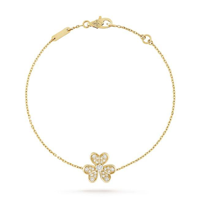 梵克雅寶Frivole手鍊迷你款,黃K金鑲嵌鑽石,11萬5,000元。圖/梵克雅...