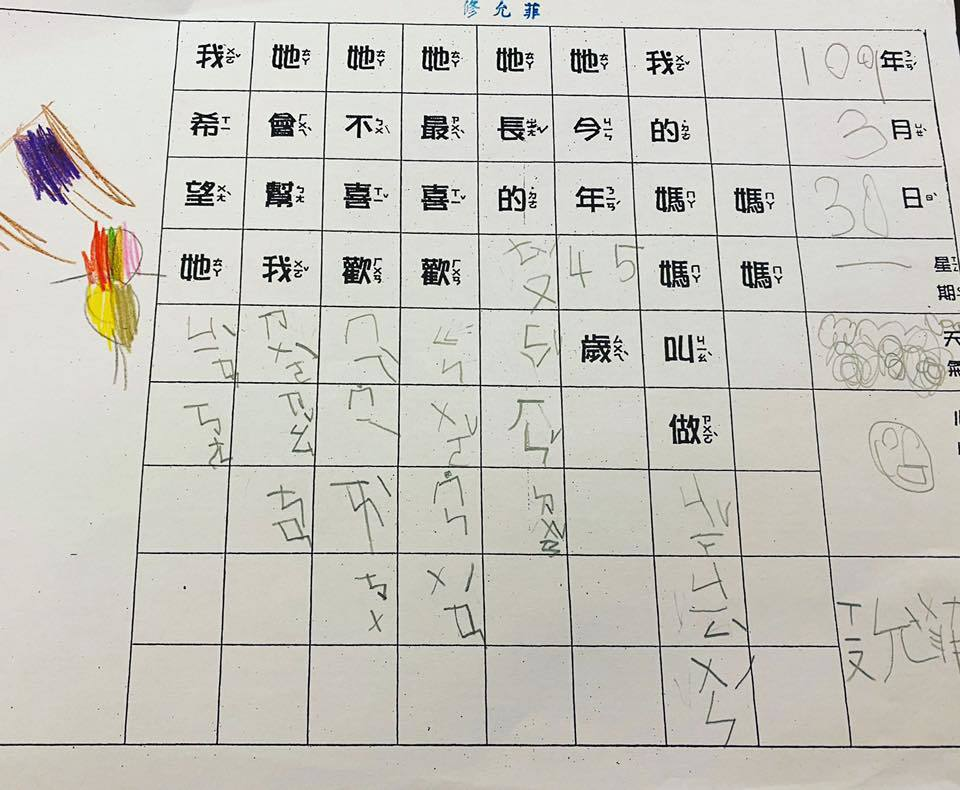 賈靜雯曝光咘咘的筆跡。圖/摘自臉書
