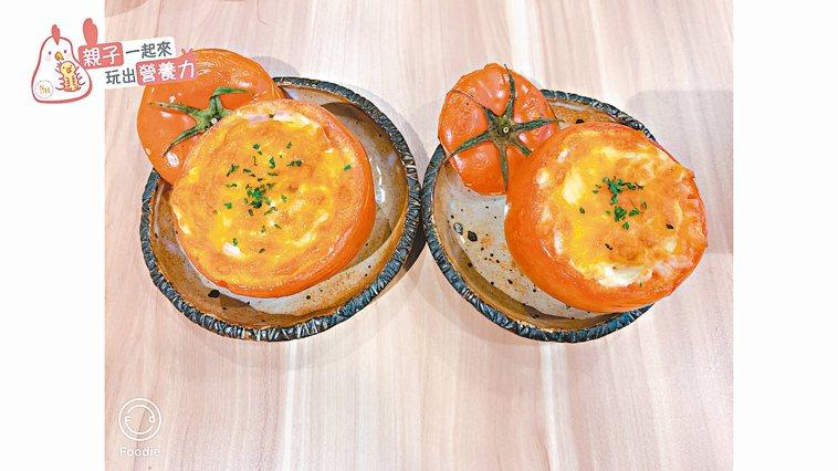 焗烤番茄順食盅(圖)、彩虹水果優格。 圖/台北醫學大學保健營養學系提供