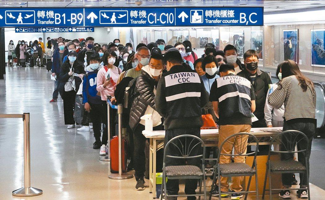 台北市政府希望自歐美返台者集中檢疫,因北市居家檢疫人數逾萬,實在吃不消。圖為桃園...