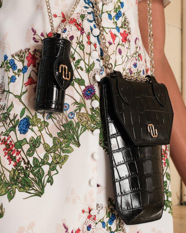 maje本季L WALK小配件除了鱷魚壓紋唇膏盒之外,也有手機側背包。圖/maj...