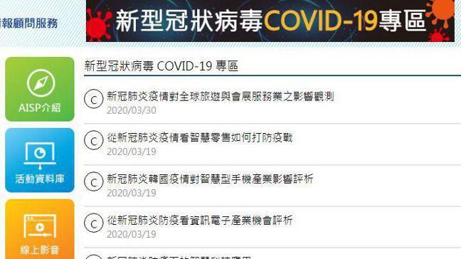 圖/截自MIC新型冠狀病毒 COVID-19 專區