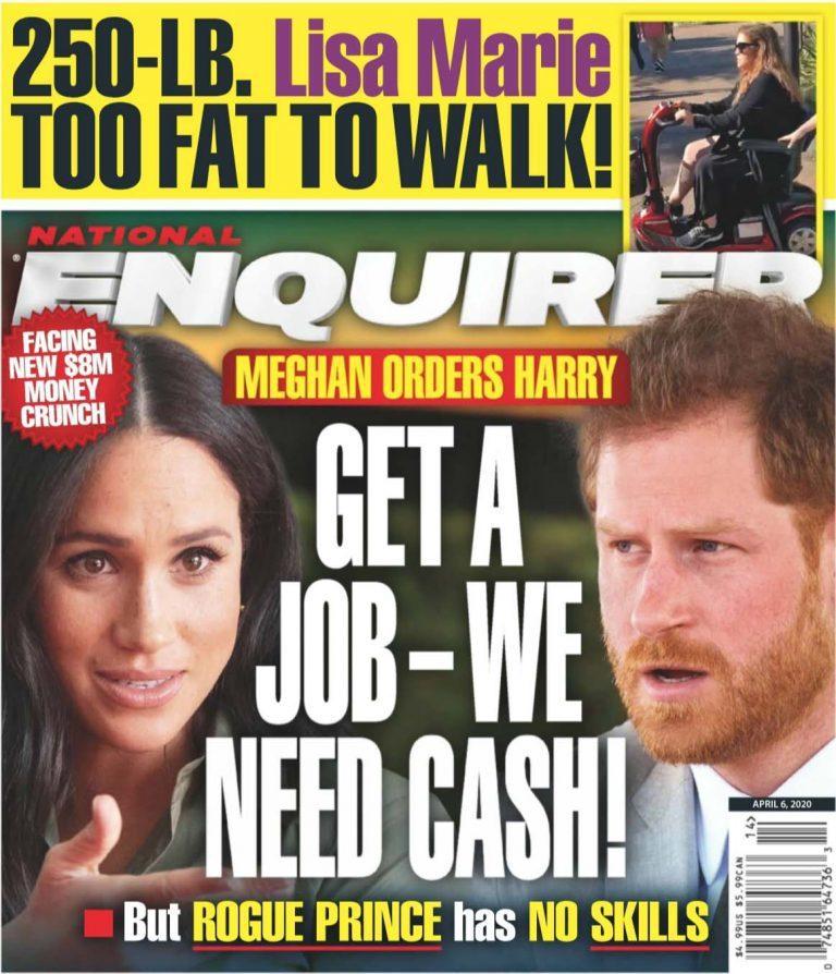 八卦刊物指梅根逼迫哈利趕快去找工作,否則難以支撐高昂的生活費。圖/摘自Natio