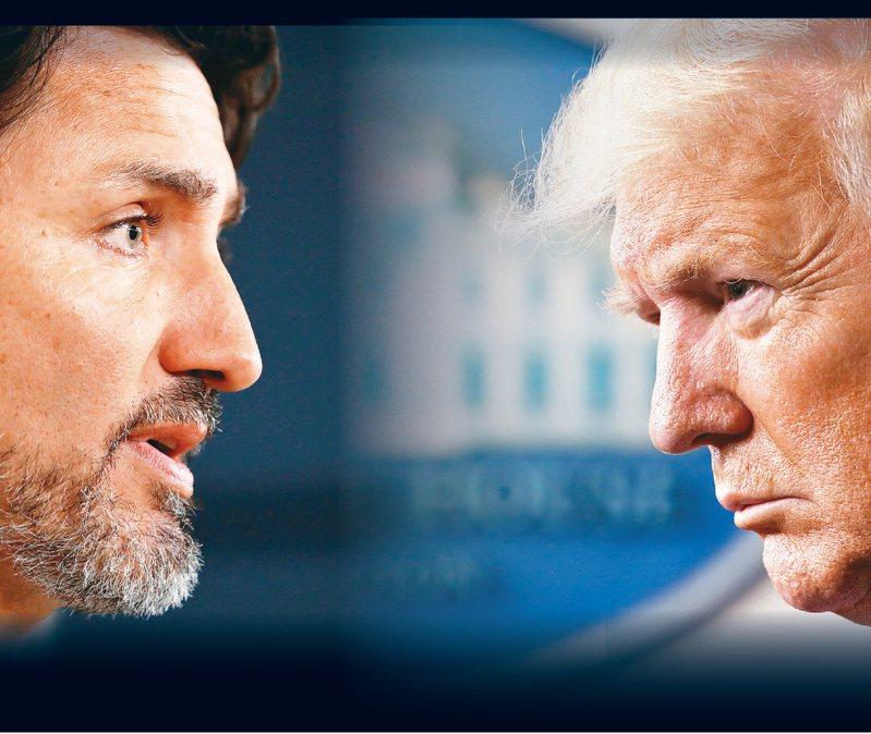 加拿大總理杜魯多(左)與美國總統川普(右)因為N95口罩進出口而槓上。 路透、美聯社