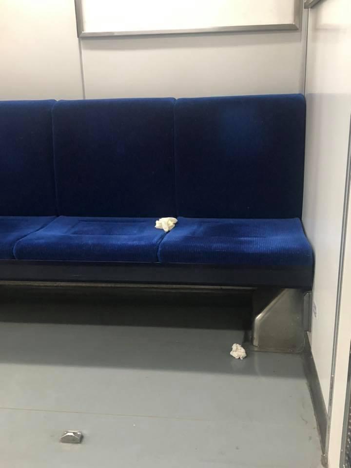 大牙驚見台鐵車廂座椅上出現使用過的拋棄式手套。 圖/擷自大牙臉書