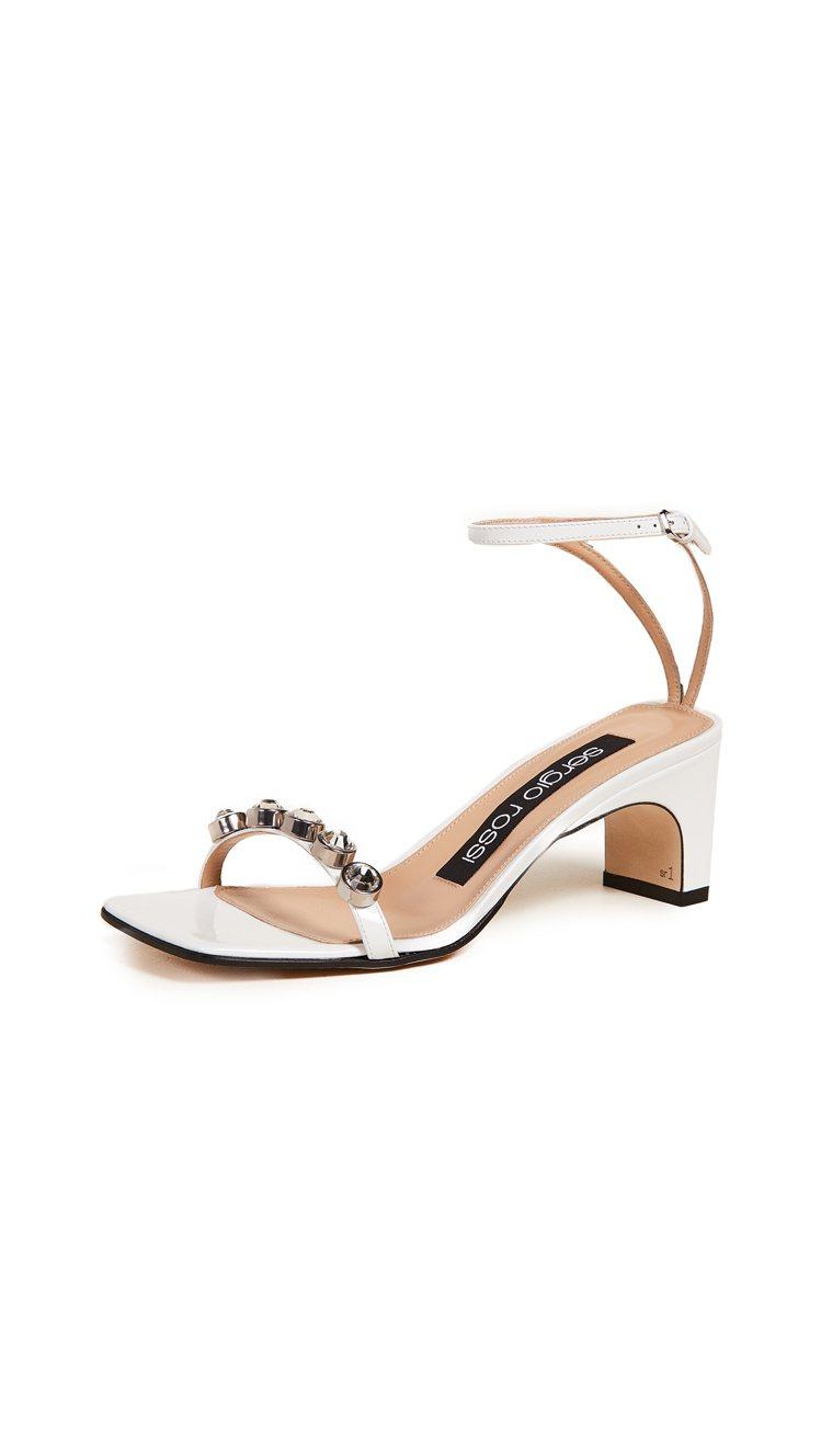 Sergio Rossi經典sr1 sandal涼鞋鑲嵌水晶款。圖/MINOSH...