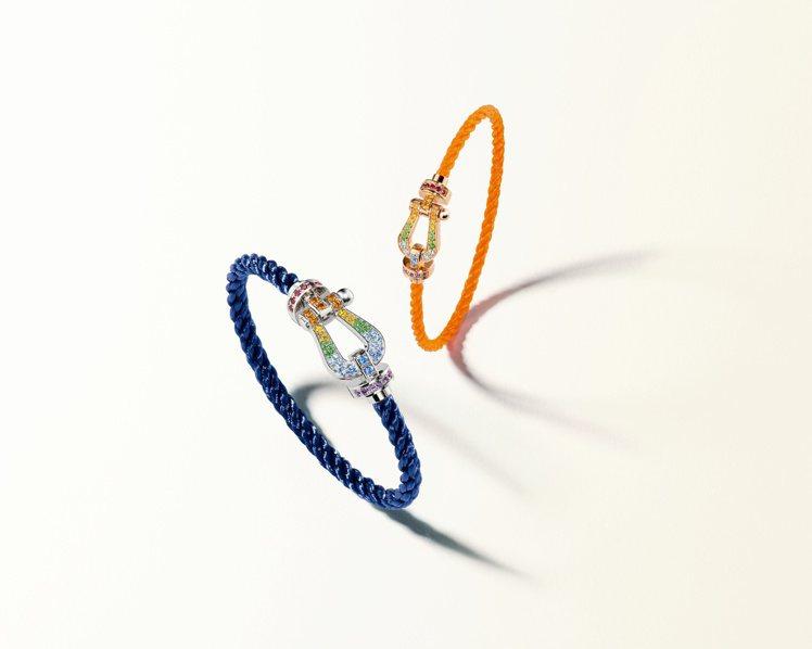 FRED經典的Force 10系列推出鑲嵌彩虹般七色彩寶的全新炫彩鍊釦。圖/斐登...