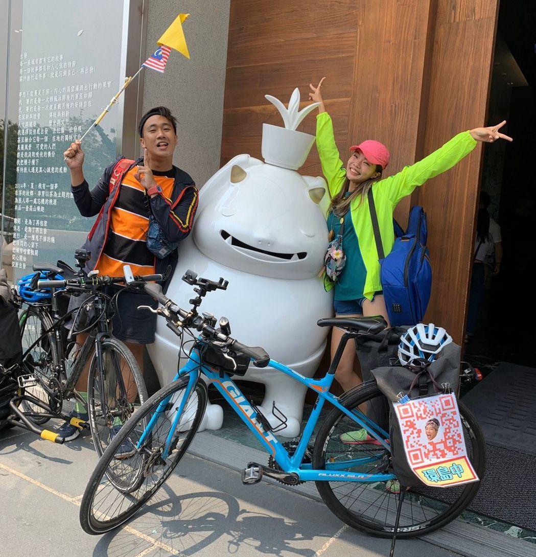 台馬網紅情侶檔騎單車環島,旅行途中指定入住桃城茶樣子。  承億文旅 提供
