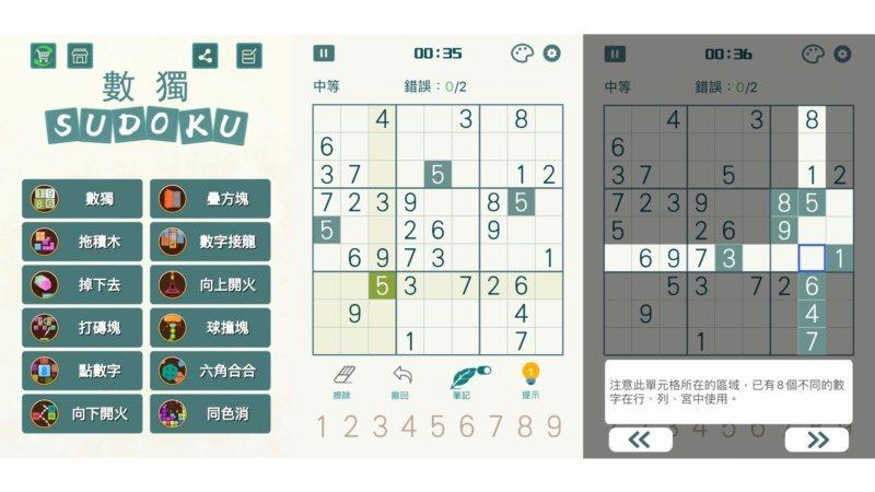 「數獨—數獨九宮格益智遊戲」App,可循序挑戰各種不同難度的關卡。 圖/黃筱晴 ...