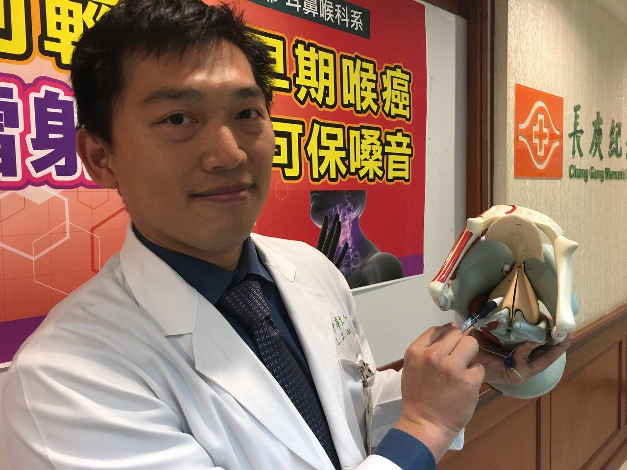 醫師辛立仁指出,九成以上的喉癌病人,腫瘤是長在聲帶上,也叫做「聲門癌」。 圖/鄧...