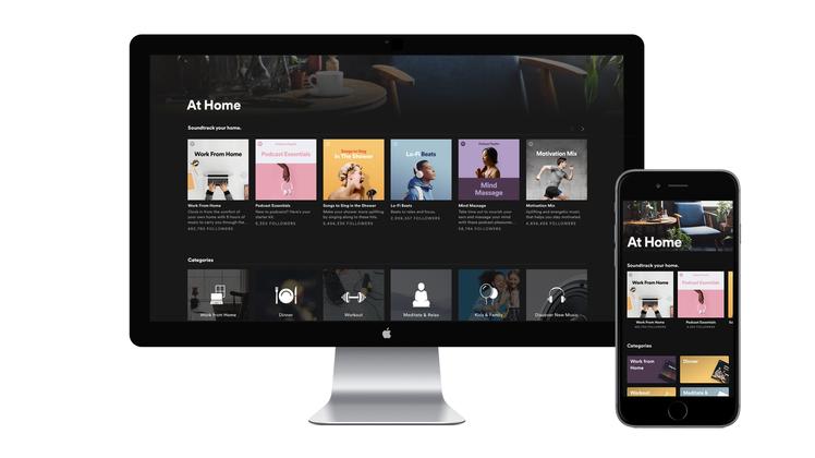 Spotify因應聽眾習慣改變,近期也發布了「At Home家居生活」播放清單滿...