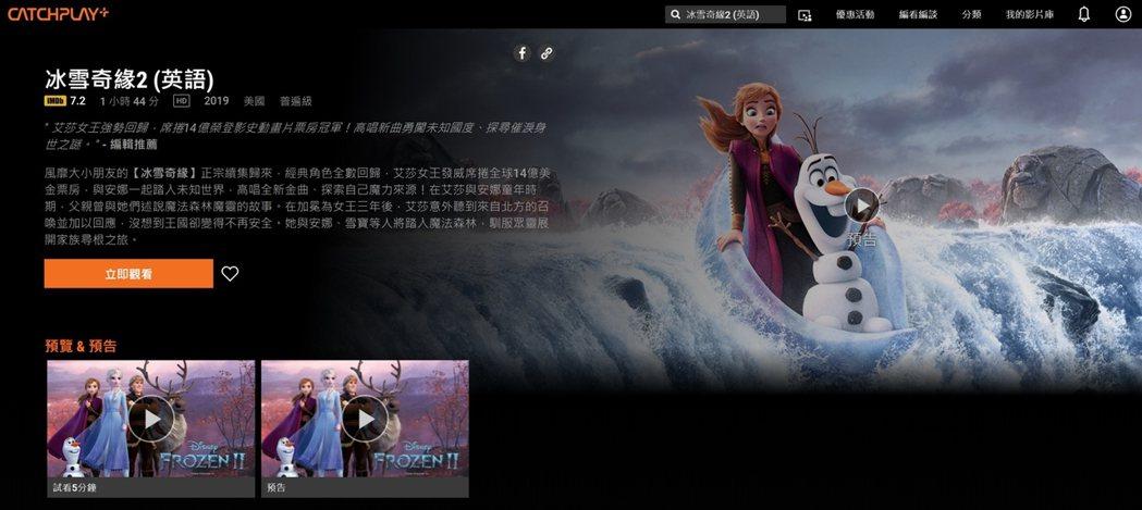 3月份CATCHPLAY+影音平台電影類觀看排名,由新上架的動畫強片「冰雪奇緣2