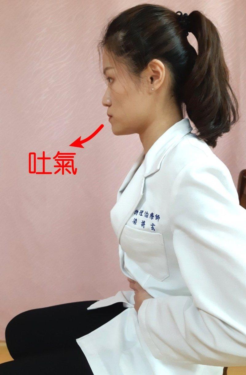 第三招:腹式呼吸運動-吐氣。 圖/大千醫院提供