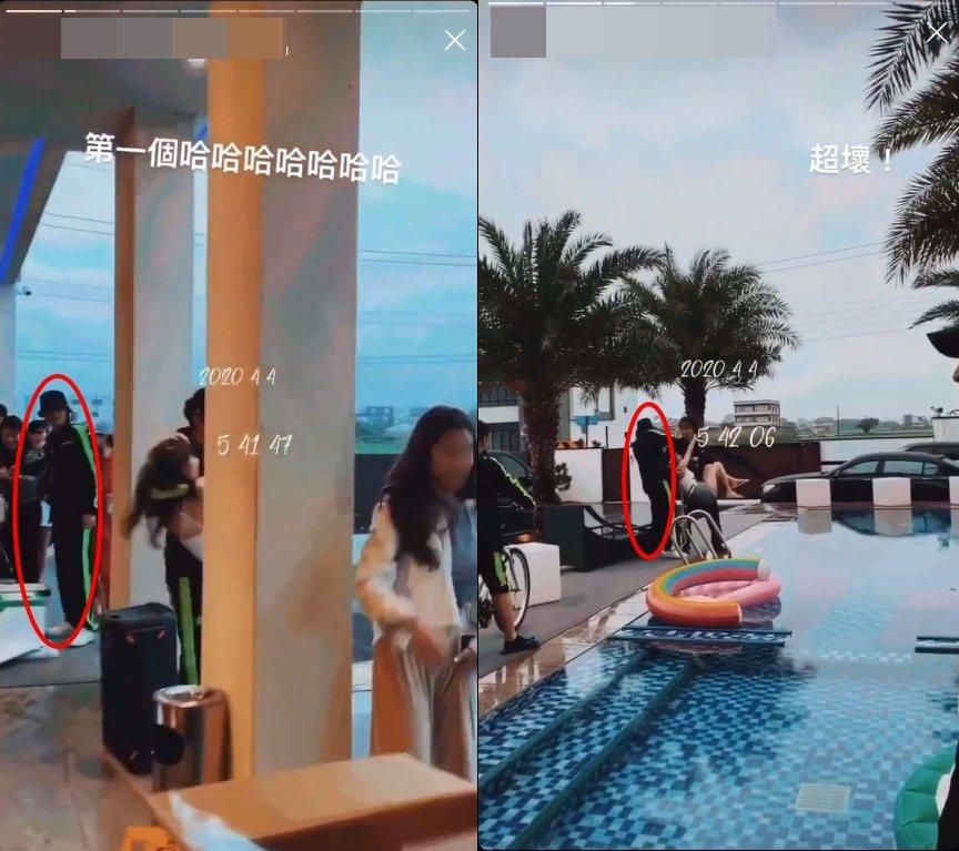 羅志祥(紅圈處)包下泳池別墅開趴。 圖/擷自微博