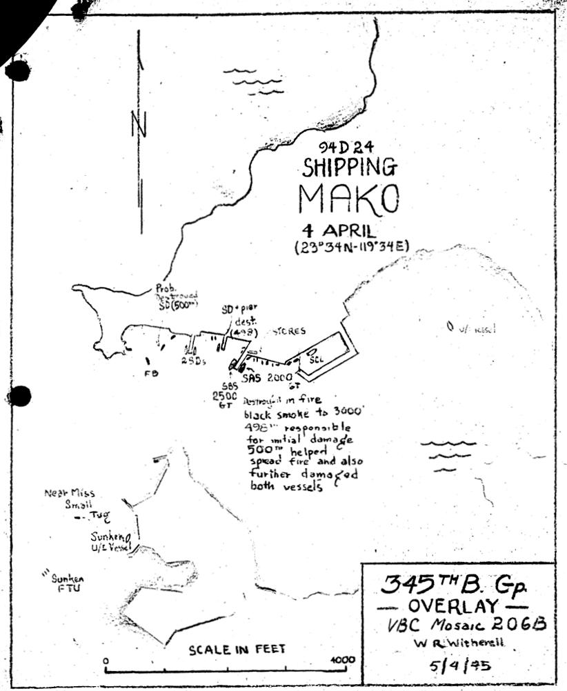 美軍第498轟炸中隊任務歸詢報告裡的攻擊示意圖,圖上標註第498中隊先擊中第二近油丸,隨後第500中隊加以完全摧毀,並成功讓火勢散播到旁邊的寶嶺丸上,擴大戰果。 圖/第498轟炸中隊任務報告