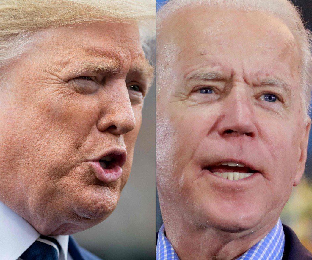 美國總統川普(左)6日與民主黨總統候選人拜登(右)通電話。法新社