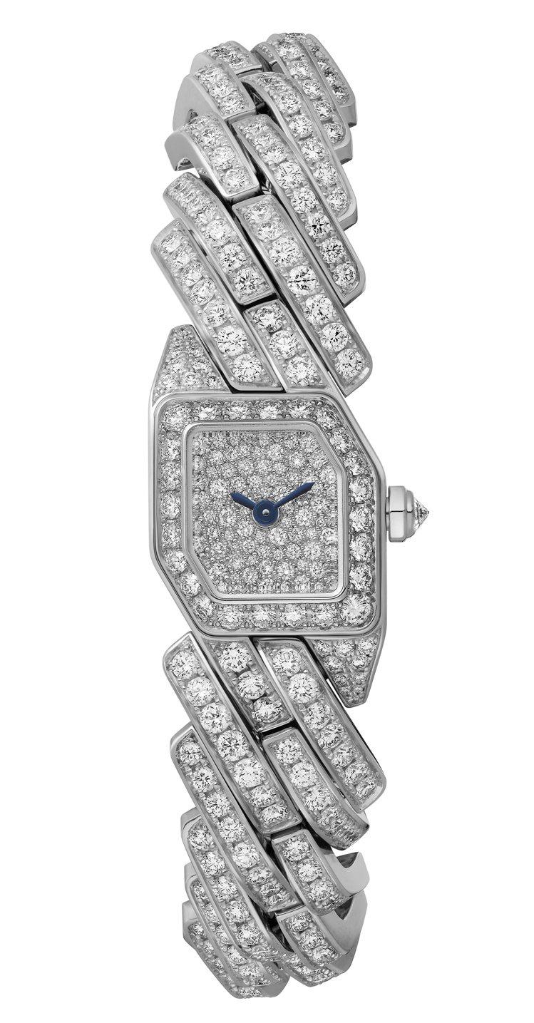 卡地亞Maillon de Cartier鑽表,白K金鑲嵌487顆圓形明亮式切割...