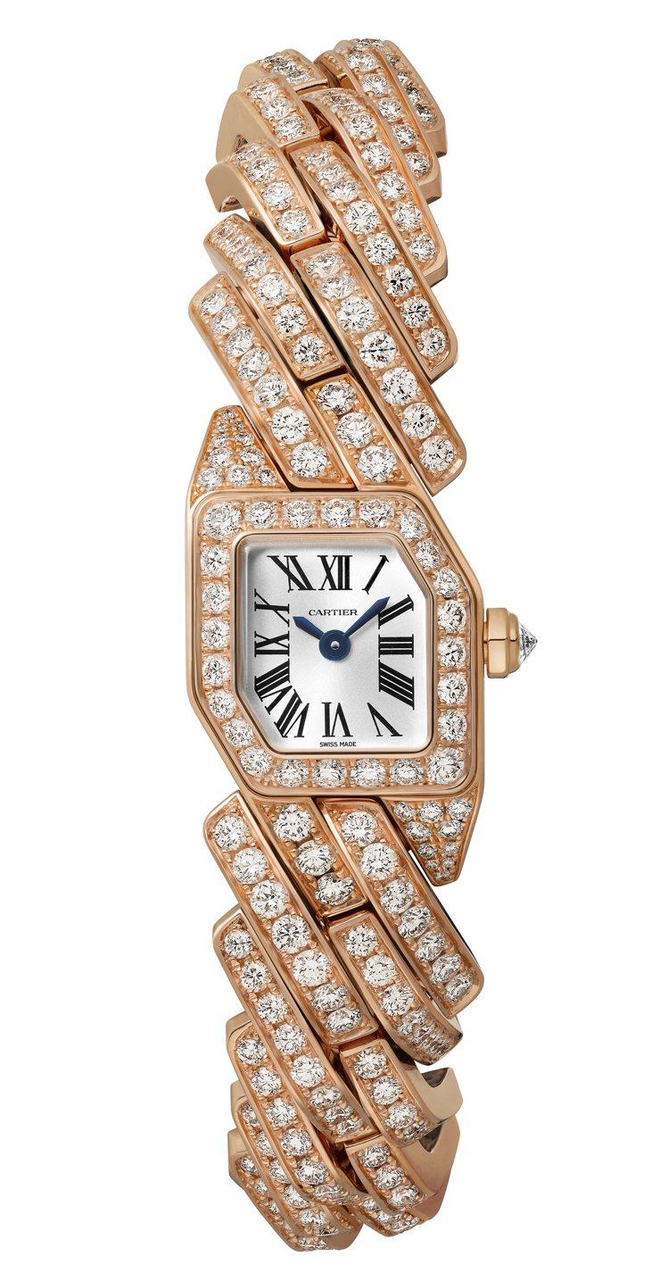 卡地亞Maillon de Cartier鑽表,玫瑰K金鑲嵌401顆圓形明亮式切...