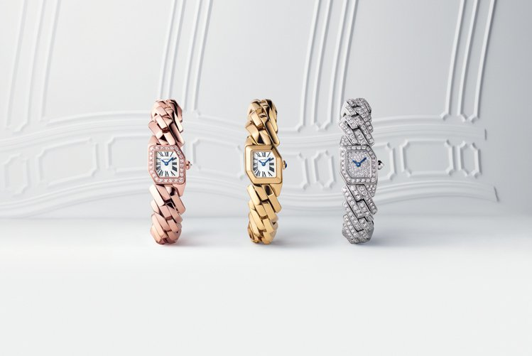 卡地亞全新創作Maillon de Cartier,從表鍊線條延伸出六角形的表殼...