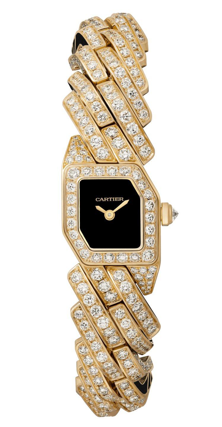 卡地亞Maillon de Cartier鑽表,黃K金鑲嵌487顆圓形明亮式切割...