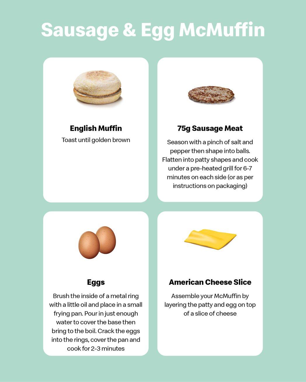 英國麥當勞近期公佈豬肉滿福堡加蛋的食譜。圖/取自McDonald's UK推特