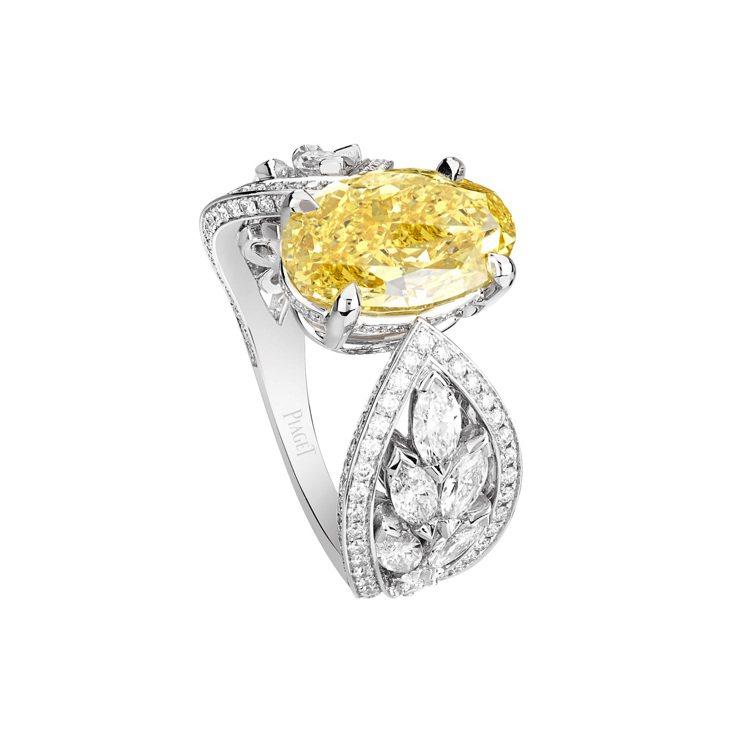 PIAGET,Treasures黃鑽頂級珠寶鑽石戒指,18K白金,主石為4.01...