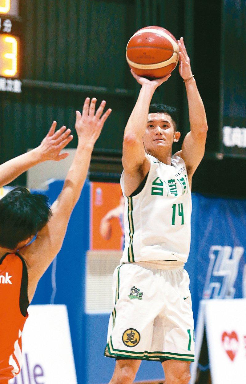 蔣淯安上周打出搶眼表現,獲選SBL第十一周最佳球員。 圖/聯合報系資料照片