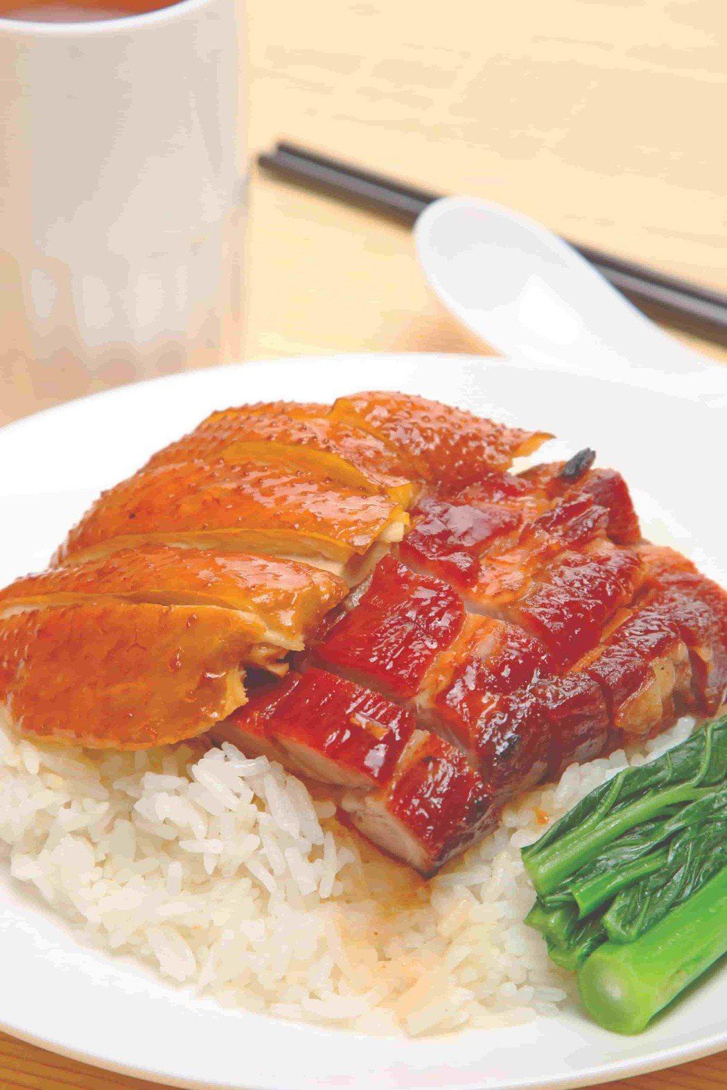 甘牌燒味雙拼飯-叉燒油雞。業者/提供