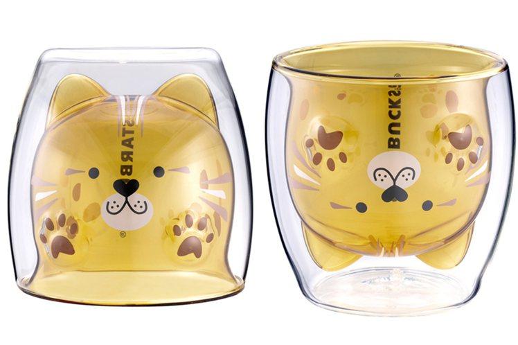 石虎造型雙層玻璃杯5/6上市,售價新台幣650元。圖/星巴克提供
