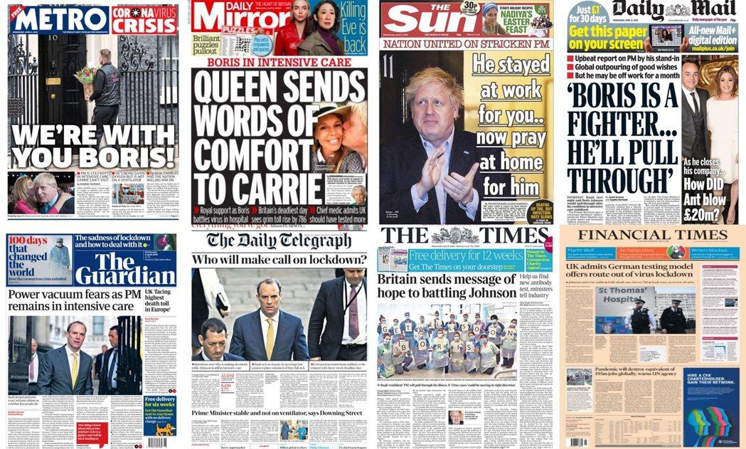染上新型冠狀病毒的英國首相鮑里斯.強生(Boris Johnson),周一傍晚被...