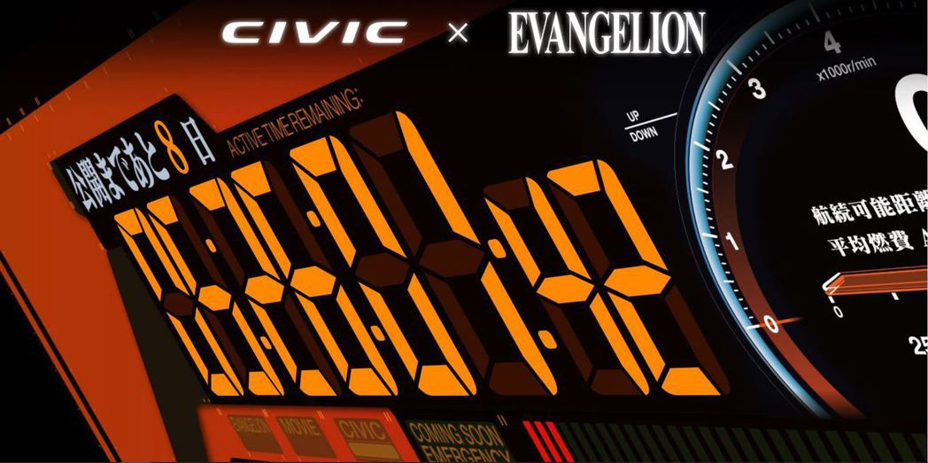 以動畫裡經典的EVA數位儀表做為網頁Loading畫面。 摘自Honda