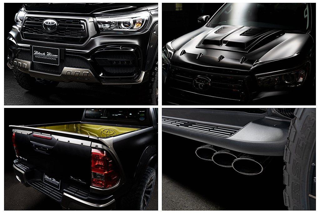 霸氣的前下保桿、開孔引擎蓋、車頂LED燈,側排氣系統、全地形輪胎以及車尾套件等使...