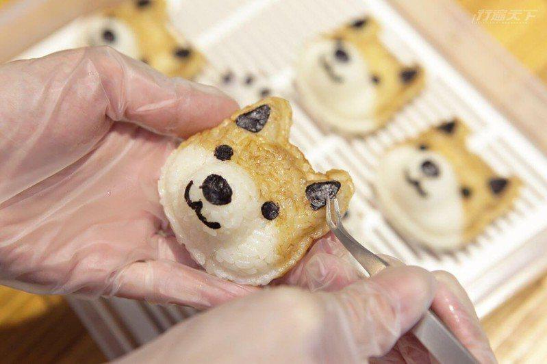 選用花東壽司米,柴魚醬油把柴犬頭染色。