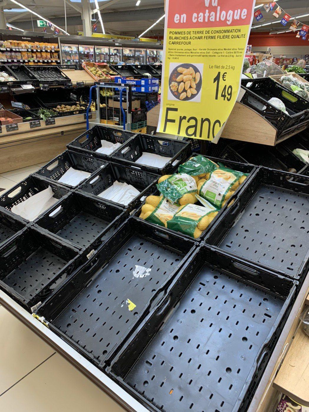 法國宣布封城後,超市貨架被搶購一空。圖/Charlotte提供