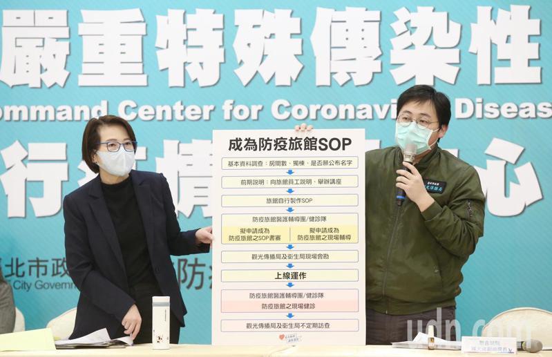 台北市副市長黃珊珊(左)丶觀傳局長劉奕霆(右),上午公布業者申請成為防疫旅館的SOP。記者林俊良/攝影