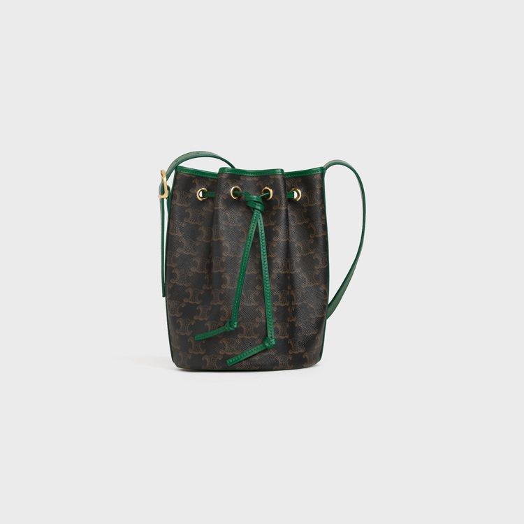 Triomphe Canvas凱旋門經典印花綠色滾邊抽繩水桶包,售價33,500...