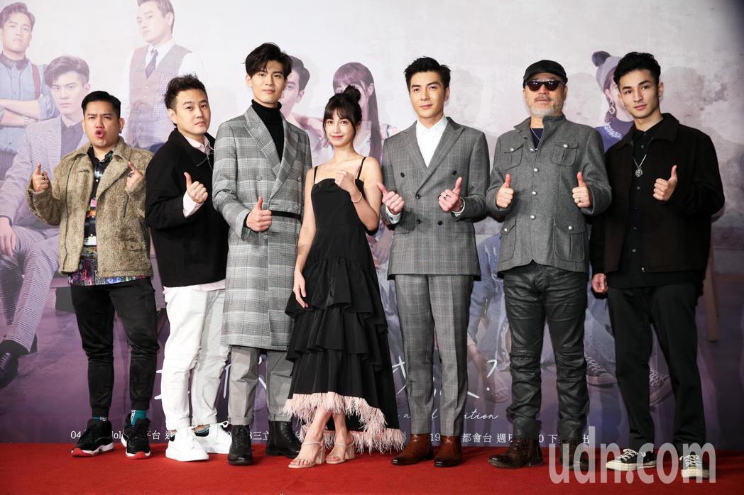 三立網劇《位!你在等我嗎?》舉行首映會,主要演員沈懿(左起)、綠茶、吳承洋、陳敬...