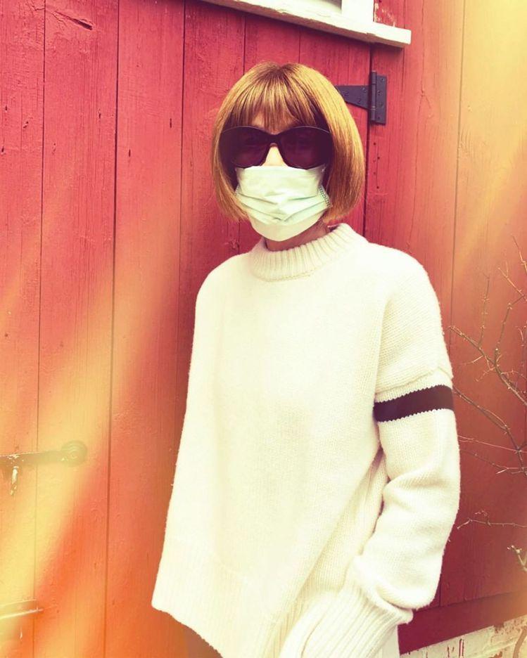 安娜溫圖因應新冠肺炎疫情,也開始戴上口罩自我保護。圖/摘自Instagram