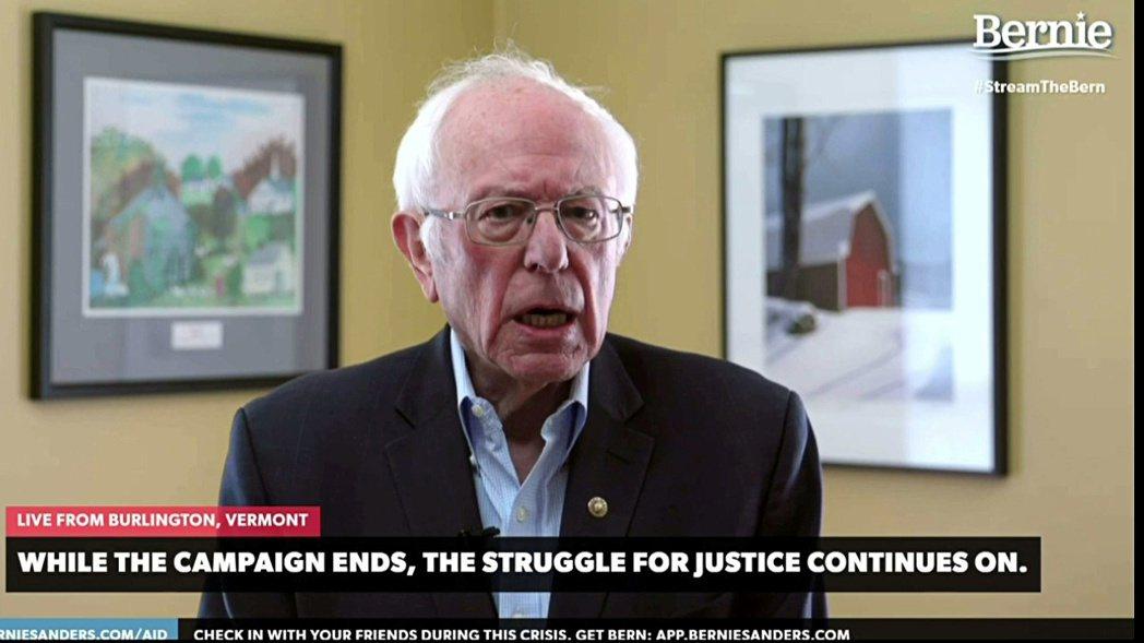 桑德斯透過網路影片宣布退選;換言之,2020美國總統大選,確定將由前副總統拜登(...